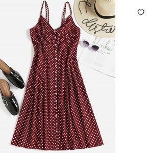 Zaful Maroon Polka Dot Midi Dress
